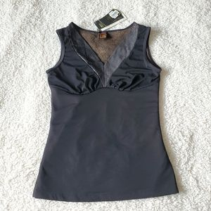Fur lined thermal stretchy sleeveless tank top XS